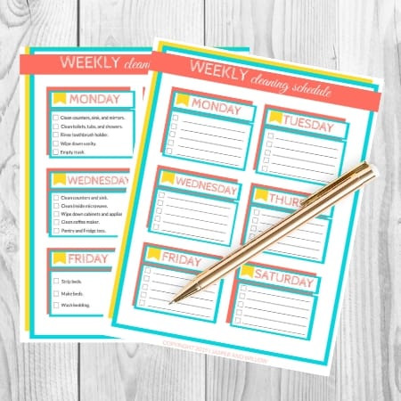 printable weekly cleaning checklist on desk