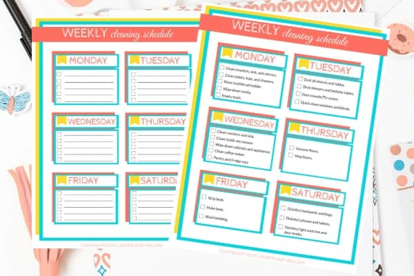 picture relating to Free Printable Cleaning Schedule called Uncomplicated Weekly Cleansing Program For Active Mothers - Printable