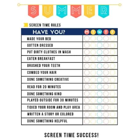 summer rules checklist no screen time until printable