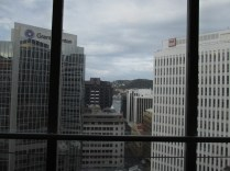 If you look through the buildings, you can see the harbour
