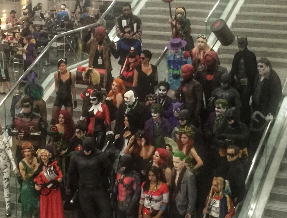 dc group shot on stairs at comic con 2018 nyc