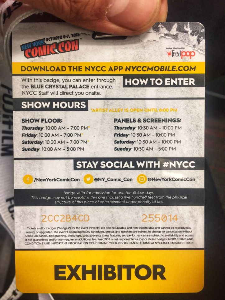 my comic con 2018 nyc pass - back view