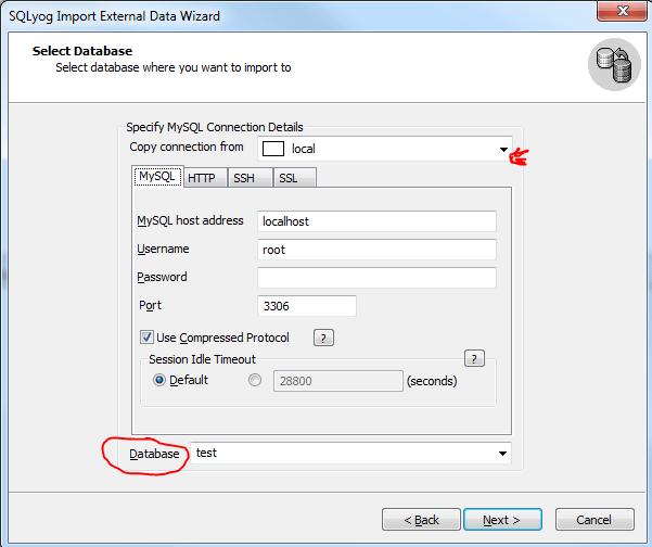 SQLYog import csv step 3