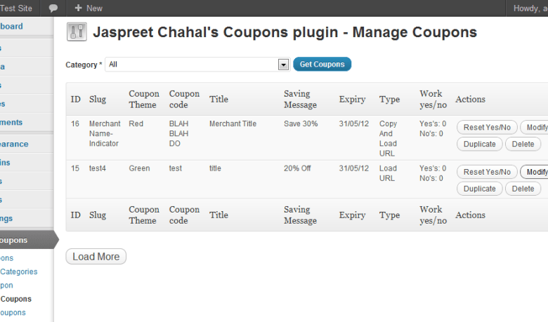 JC WordPress Coupon PRO Plugin Management