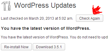wordpress check again for plugin updates