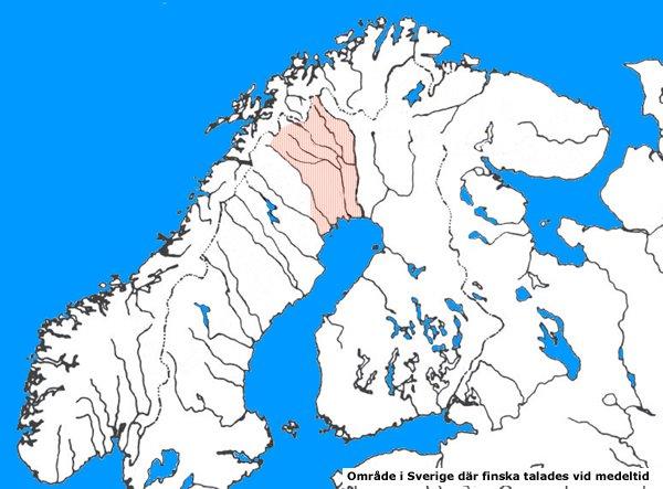 Karta över möjligt finsktaladen område under medeltidens Sverige.