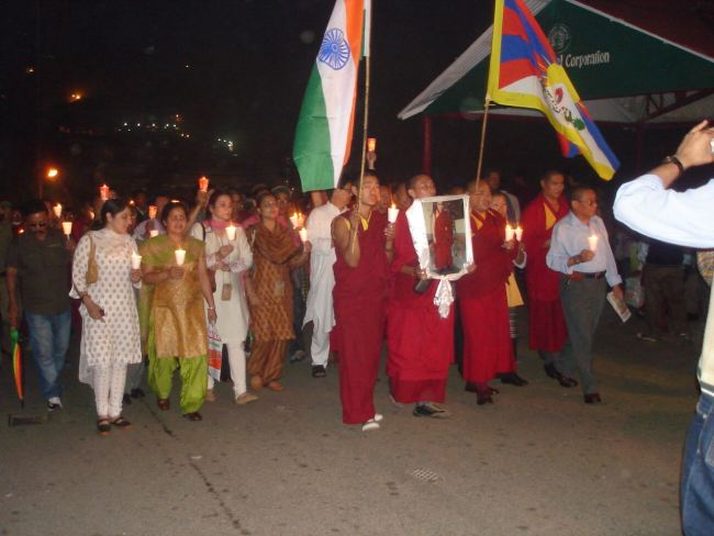 Tibetan demonstration in Shimla. Monks in the front.