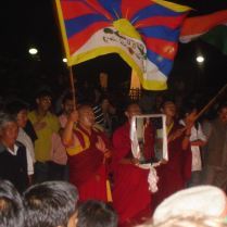 Tibetan demonstration in Shimla. Monks in the front with Tibet flag