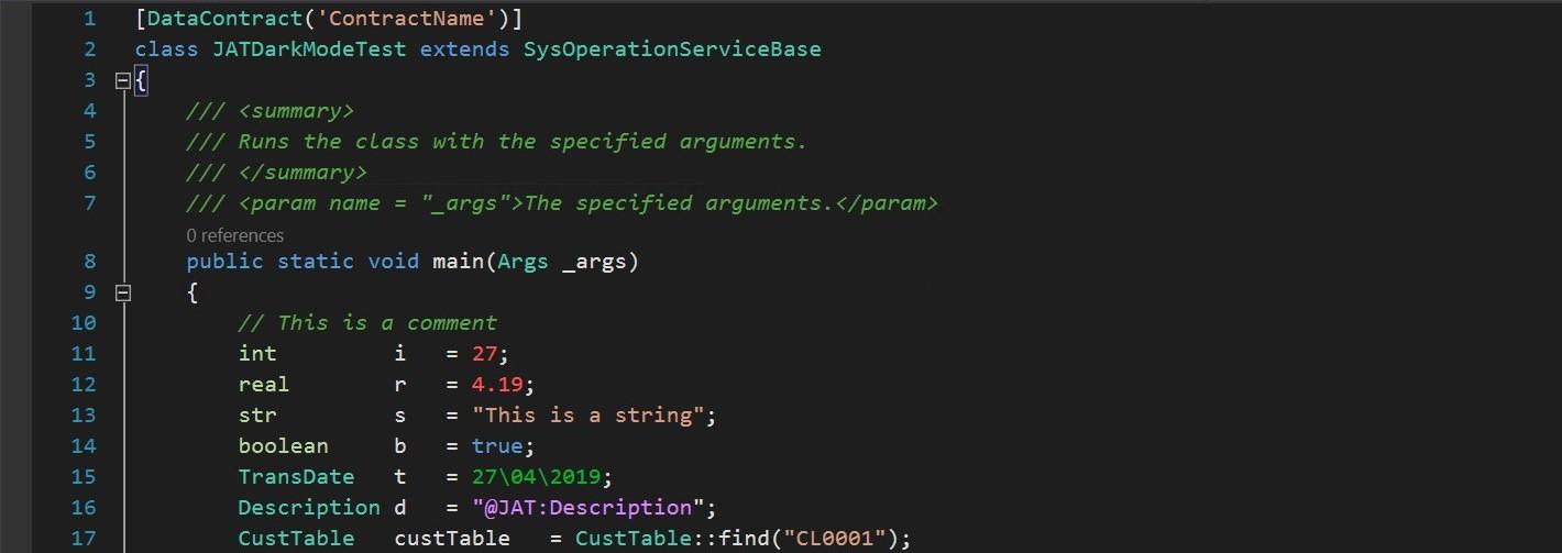 Modo Oscuro en Visual Studio para el Editor de Código de X++