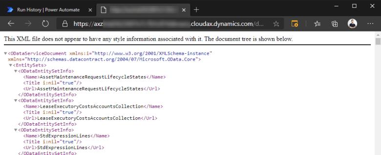 Lista de entidades obtenida desde el navegador https://cloudax.jatomas.dynamics.com/data