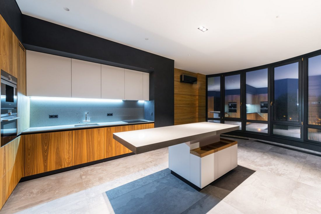 spacious light kitchen in modern house