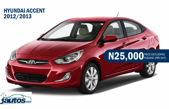 HYUNDAI ACCENT 2012/2013- N25,000 (AMOUNT PER DAY WITHOUT FUELING)