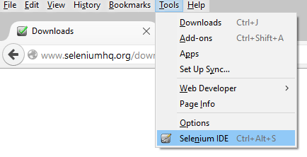 Launch Selenium IDE from menu bar