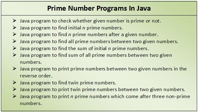 10 Prime Number Programs In Java