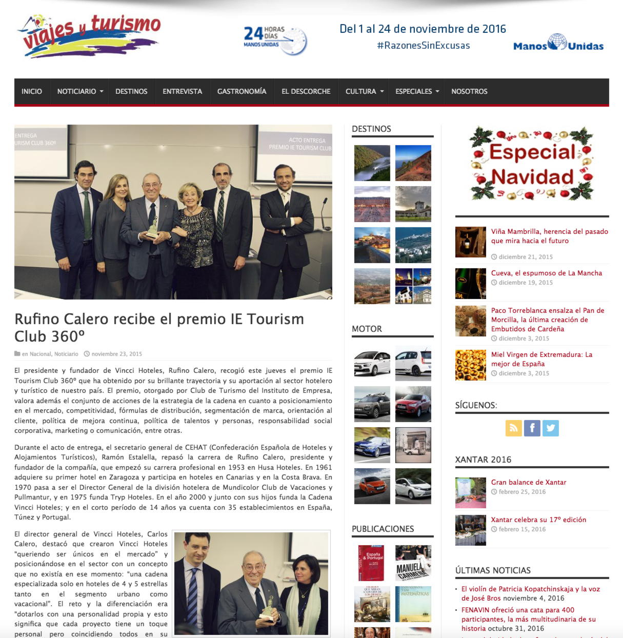 """""""Rufino Calero recibe el premio IE Tourism Club 360º"""""""