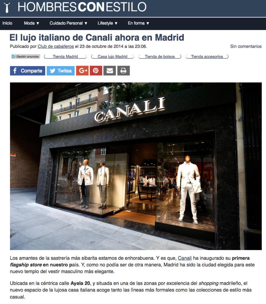 """""""El lujo italiano de Canali ahora en Madrid"""""""