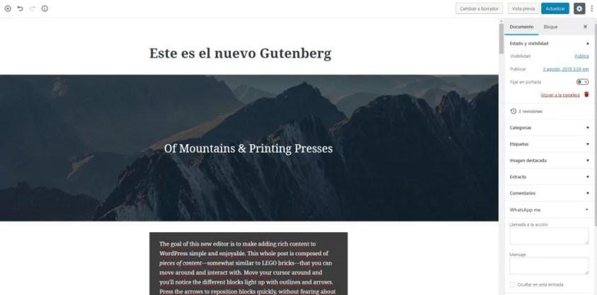 Gutenberg para WordPress ini