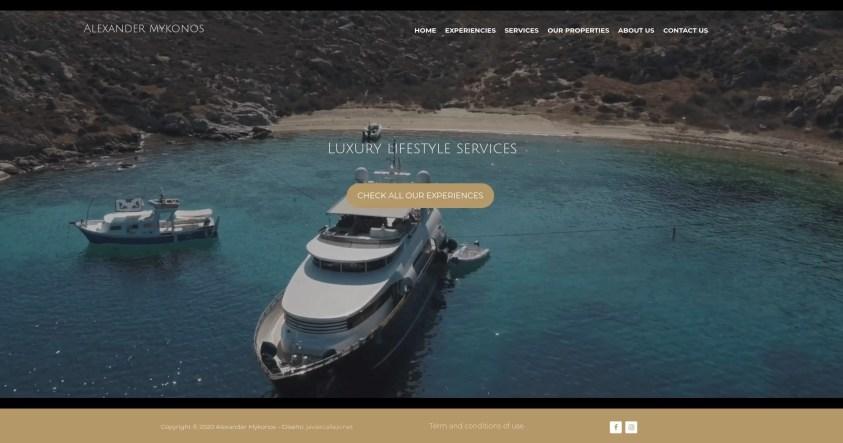 Diseño para web de viajes de lujo exxperiencias