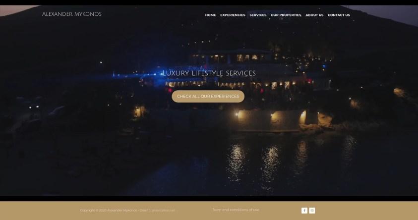 Diseño para web de viajes de lujo noche Mykonos