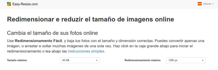 Reducir el peso de imágenes JPG o PNG - Easy Resize online