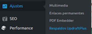 Configuracion UpdraftPlus