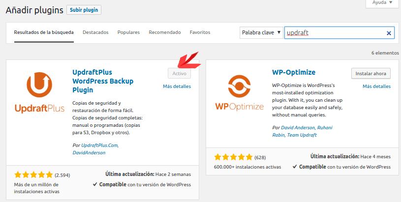 Instalacion UpdraftPlus 2