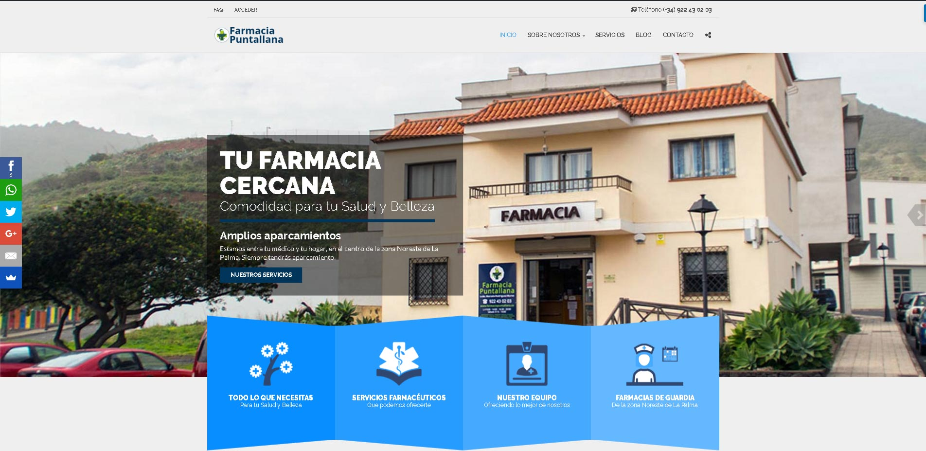 Portada · Diseño Web Autogestionable Wordpress Farmacia Puntallana La Palma