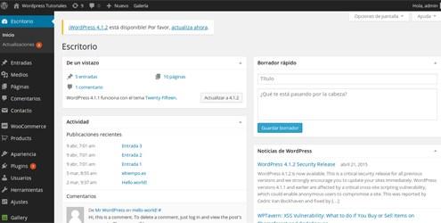 panel de control del blog