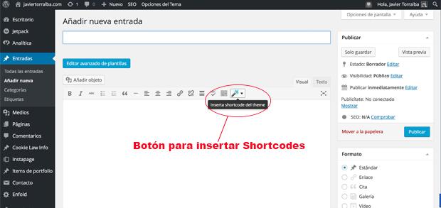 Botón para Shortcodes