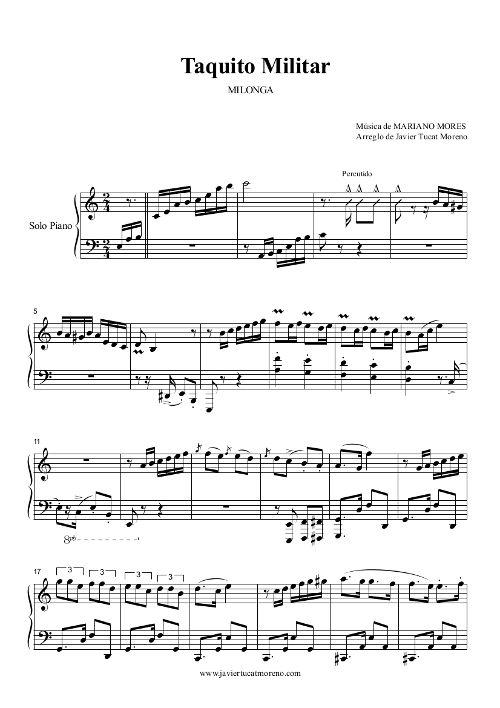 Taquito militar - Milonga für Piano von Mariano Mores - Arr. Javier Tucat Moreno