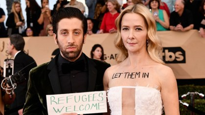 Mandatory Credit: Photo by Rob Latour/REX/Shutterstock (8137126ep) Simon Helberg and Jocelyn Towne The 23rd Annual Screen Actors Guild Awards, Arrivals, Los Angeles, USA - 29 Jan 2017