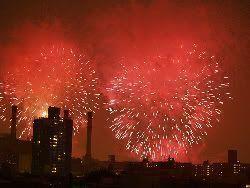 Fuegos artificiales el 4 de julio, día de la independencia de Estados Unidos
