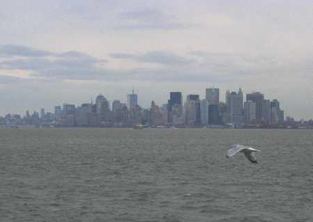 Manhattan desde el Ferry de Staten Island en Año Nuevo