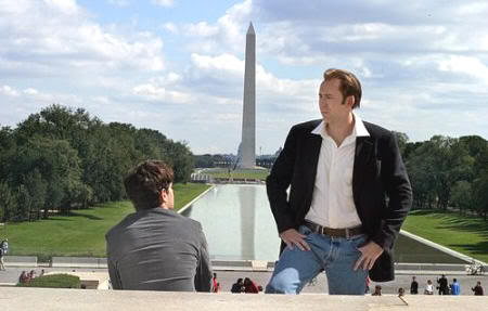 """Enfrente de la Estatua de Lincoln y con el Obelisco al fondo. """"La Búsqueda"""" (""""National Treasure"""", 2004)"""