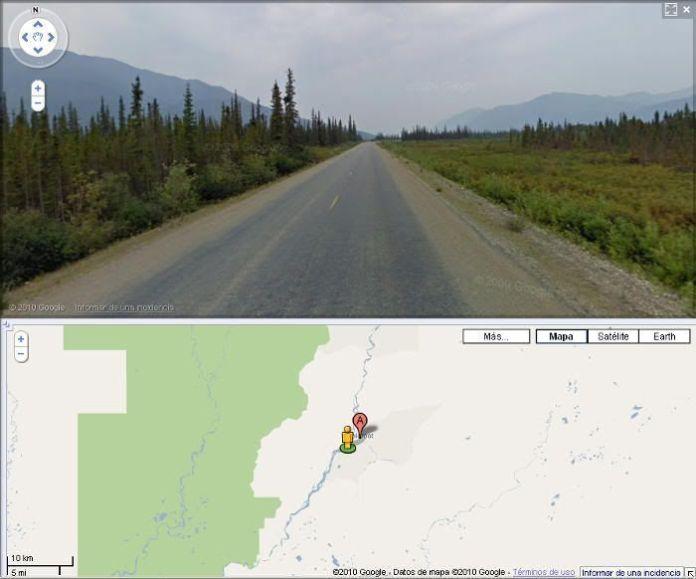 Street view de Google Maps con la Dalton Highway (Alaska). 666 kilómetros de aventura