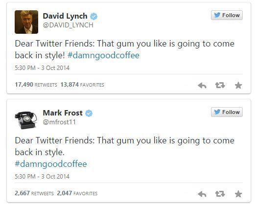Tuits de David Lynch anunciando el rodaje de la tercera temporada de Twin Peaks