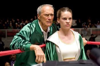 "Clint Eastwood y Hillary Swank en ""Million Dollar Baby"""