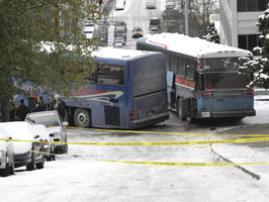 Choque de autocares en Seattle a causa de la nieve