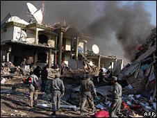 صحنه انفجار روز دوشنبه در کابل