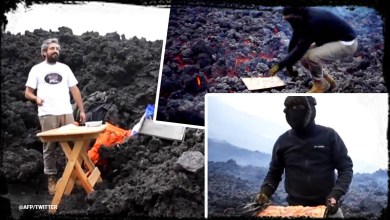 رجل مغامر يطهو بيتزا فوق الحمم البركانية!