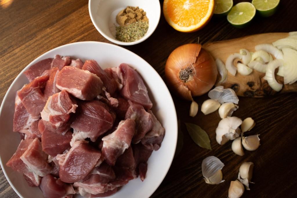 pork shoulder onion citrus and spices