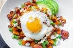 Sweet Potato Breakfast Hash with Bacon, Feta and Avocado
