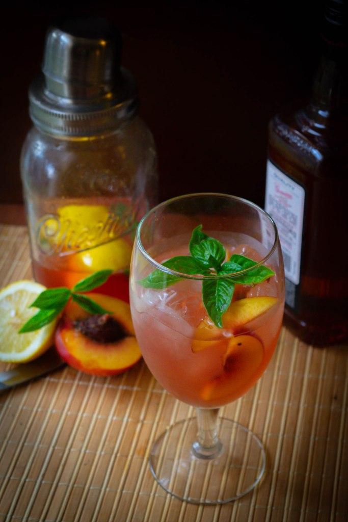 Nectarine, Basil and Bourbon Spritz