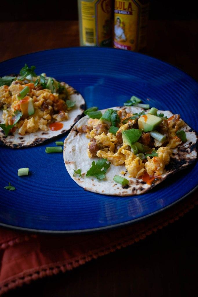 Chorizo Egg Breakfast Tacos