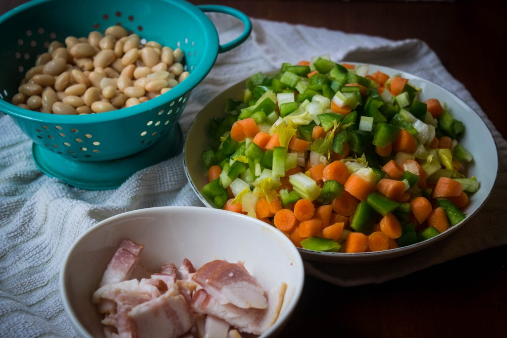 ham bean bacon soup with dumplings
