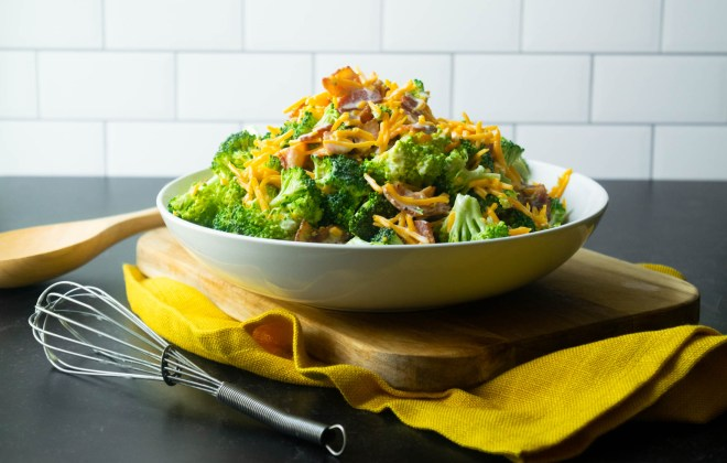 Print Recipe Broccoli Salad with Bacon and Cheddar