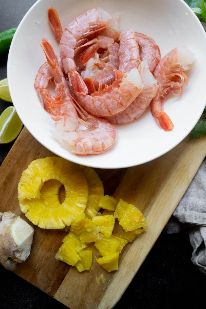 red Argentina shrimp and pineapple