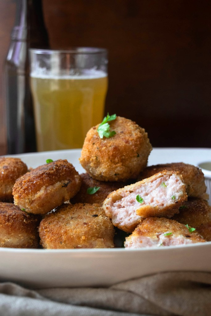 ham and cheddar croquettes and beer