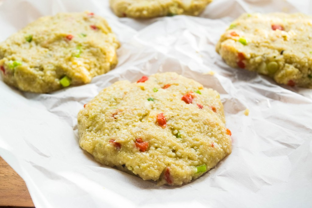 raw pesto chicken burgers with couscous