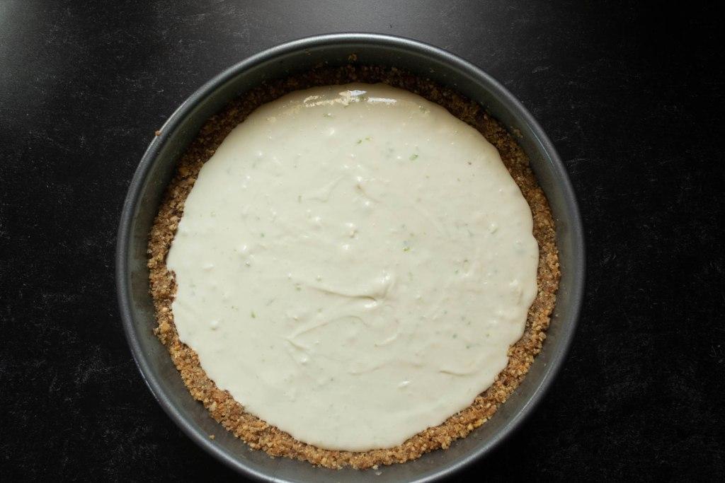 no bake cheesecake poured into springform